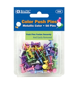 BAZIC Assorted Metallic Color Push Pins (50/Pack)