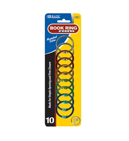 BAZIC 1 Assorted Color Metal Book Rings (10/Pack)