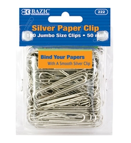 BAZIC Jumbo (50mm) Silver Paper Clip (100/Pack)