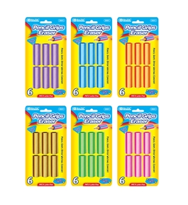 BAZIC Pencil Grip Eraser (6/Pack)