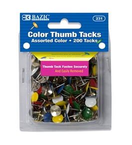 BAZIC Assorted Color Thumb Tack (200/Pack)