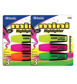 BAZIC Mini Fluorescent Highlighters with Cushion Grip (3/Pack)