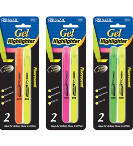 BAZIC Fluorescent Gel Highlighter (2/Pack)