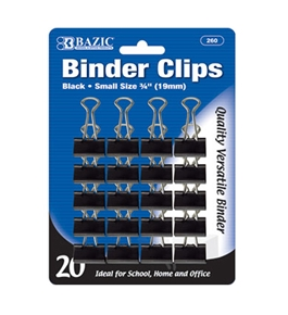 BAZIC Small 3/4 (19mm) Black Binder Clip (20/Pack)