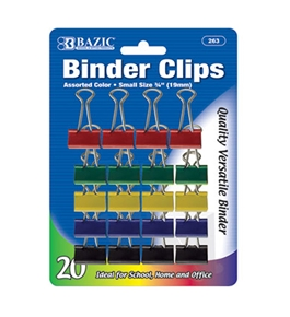 BAZIC Small 3/4 (19mm) Assorted Color Binder Clip (20/Pack)