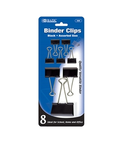 BAZIC Assorted Size Black Binder Clip (8/Pack)