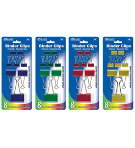 BAZIC Assorted Size Color Binder Clip (8/Pack)