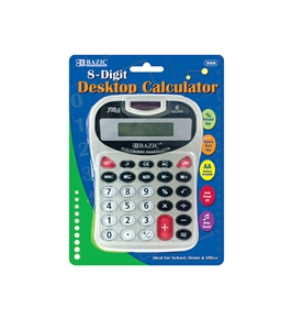 BAZIC 8-Digit Silver Desktop Calculator with Tone