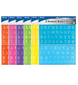 BAZIC 20mm Size Lettering Stencil Ruler Sets (2/Pack)
