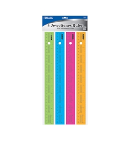 BAZIC 12 (30cm) Ruler with Multiplication Prints (4/Pack)