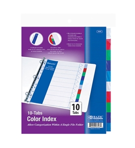 BAZIC 3-Ring Binder Dividers with 10-Color Tabs