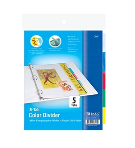 BAZIC 3-Ring Binder Dividers with 5-Insertable Color Tabs