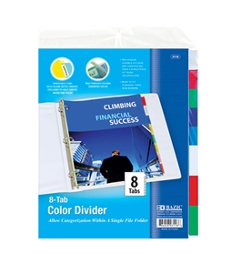 BAZIC 3-Ring Binder Dividers with 8-Insertable Color Tabs