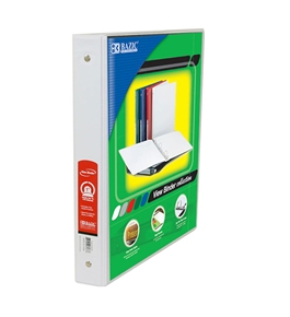 BAZIC 1 White 3-Ring View Binder with 2-Pockets