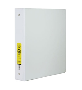 BAZIC 1.5 White 3-Ring Binder with 2-Pockets