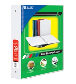BAZIC 1.5 White 3-Ring View Binder with 2-Pockets