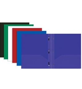 BAZIC Solid Color 2-Pockets Poly Portfolio with 3 Prongs