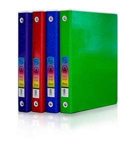 BAZIC 1 White 3-Ring Glitter Tinted View Binder with 2-Pockets