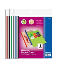 BAZIC Clear Front Report Covers with Sliding Bar (3/Pack)