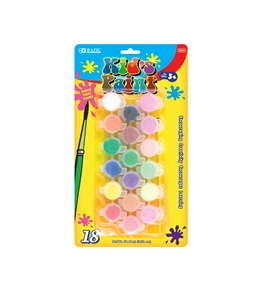 BAZIC 18 Color 6ml Kids Paint with Brush