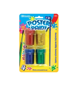 BAZIC 4 Color 18ml Glitter Poster Paint with Brush