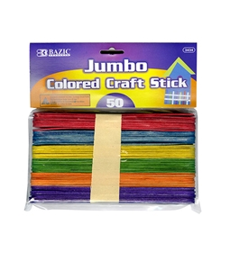 BAZIC Jumbo Colored Craft Stick (50/Pack)