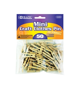 BAZIC Mini Natural Clothes Pin (50/Pack)