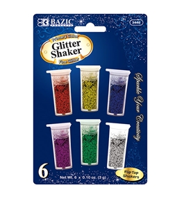 BAZIC 3g / 0.10 Oz. 6 Primary Color Glitter Shaker
