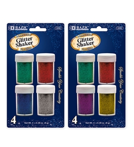 BAZIC 8g / 0.28 Oz. 4 Primary Color Glitter Shaker
