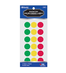 BAZIC Assorted Color 3/4 Round Label (306/Pack)