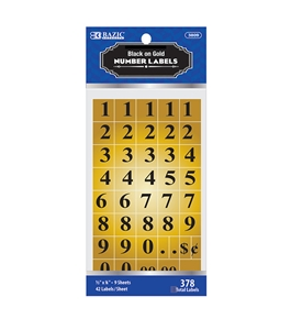 BAZIC Gold Foil Number Label (378/Pack)