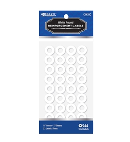 BAZIC White Round Reinforcement Label (544/Pack)