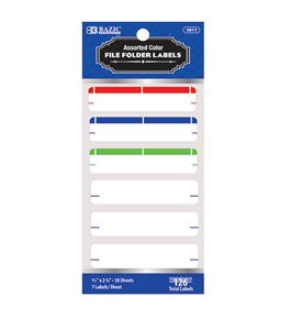 BAZIC Assorted Color File Folder Label (126/Pack)