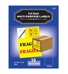 BAZIC 8.5 X 11 Full Sheet White Multipurpose Labels (10/Pk)