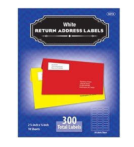 BAZIC 3/4 X 2 1/4 White Return Address Labels (300/Pack)