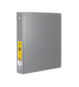 BAZIC 1 Grey 3-Ring Binder with 2-Pockets