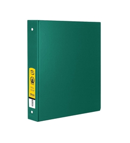 BAZIC 1 Green 3-Ring Binder with 2-Pockets