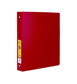 BAZIC 1 Red 3-Ring Binder with 2-Pockets