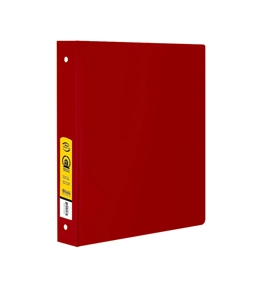 BAZIC 1.5 Red 3-Ring Binder with 2-Pockets
