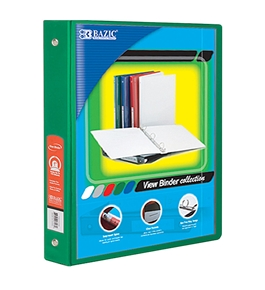 BAZIC 1.5 Green 3-Ring View Binder with2-Pockets