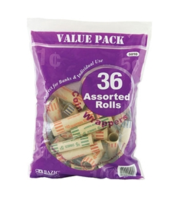 BAZIC Assorted Size Coin Wrappers (36/Pack)