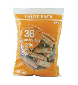 BAZIC Quarter Coin Wrappers (36/Pack)