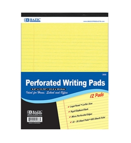 BAZIC 50 Ct. 8.5 X 11.75 Canary Perforated Writing Pad (12/Pack)