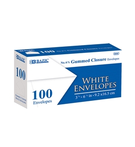 BAZIC #6 3/4 White Envelope with Gummed Closure (100/Pack)