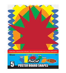 BAZIC 5 Pre-Cut Poster Board Shapes