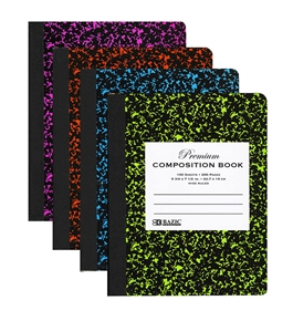 BAZIC withR 100 Ct Premium Assorted Color Marble Composition Book