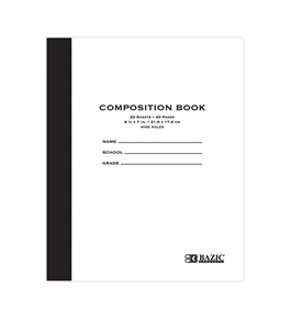 BAZIC 20 ct. 8.5 x 7 Manila Cover Composition Book