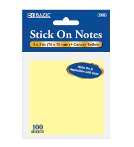 BAZIC 100 Ct. 3 X 3 Yellow Stick On Notes