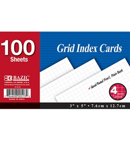 BAZIC 100 Ct. 3 X 5 Quad Ruled 4-1 White Index Card
