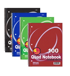 BAZIC 100 Ct. Quad-Ruled 4-1 Spiral Notebook